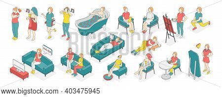 Self Care Concept Isometric Colored Icon Set With Different Types Of Recreation And Activities At Ho