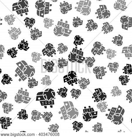Black Cruise Ship Icon Isolated Seamless Pattern On White Background. Travel Tourism Nautical Transp