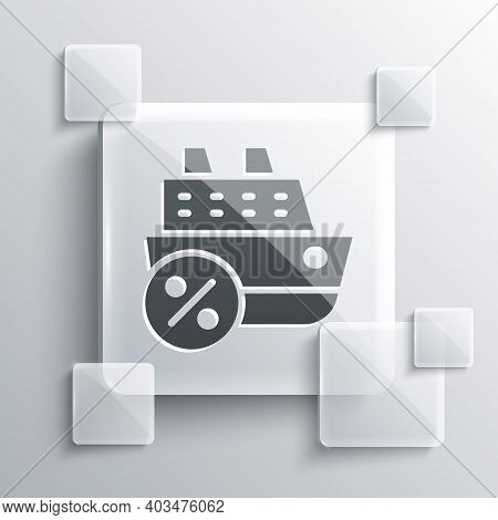 Grey Cruise Ship Icon Isolated On Grey Background. Travel Tourism Nautical Transport. Voyage Passeng