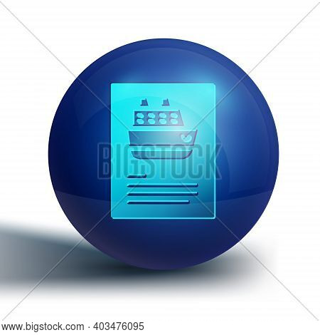 Blue Cruise Ship Icon Isolated On White Background. Travel Tourism Nautical Transport. Voyage Passen