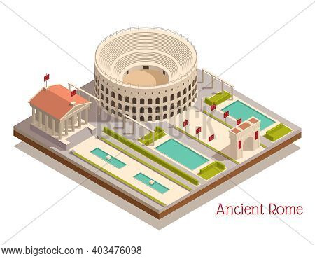 Ancient Rome Tourists Attractions Landmarks Isometric Composition With Triumphal Arch Colosseum Pant