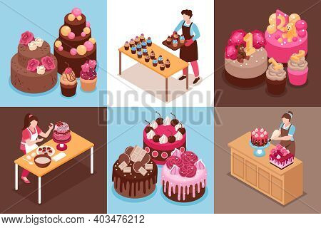 Isometric Homemade Cake Design Concept Set With Wedding Modern And For Children Cakes And Cupcakes V