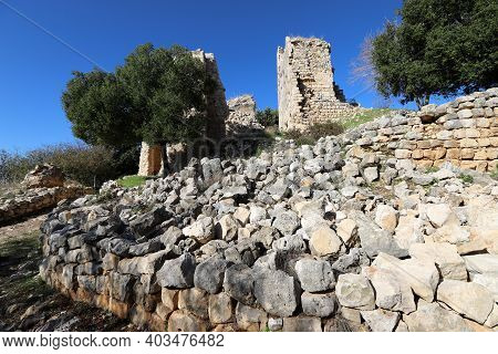 Ruins Of An Ancient Stone Fortress Wall In Northern Israel. The Ruins Of The Ancient Fortress Of The
