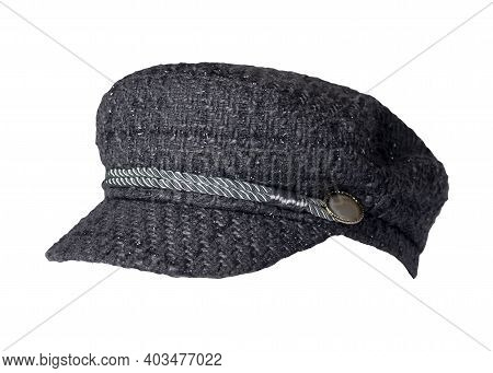 Fashion Gray Hat With Visor Isolated On White Background.cap Female. Colored Hat .