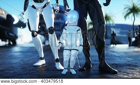 Robotic Family At A Futuristic Station In The Clouds, Against The Backdrop Of A Flying City. Future