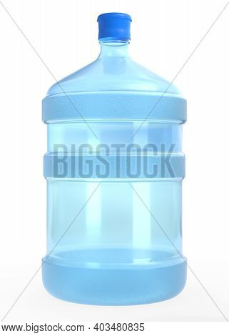 Blue 19 Liter Or 5 Gallon Plastic Water Bottle Or Container Isolated On White Background. 3d Render