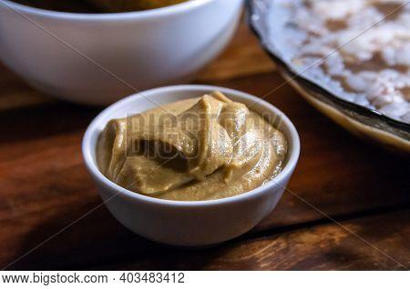 Mustard In A Jar. Mustard Seeds Vegan Concept. Healthy Diet. Selective Focus. Macro.