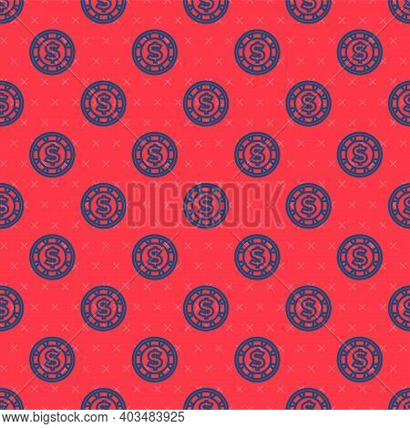 Blue Line Casino Chip With Dollar Symbol Icon Isolated Seamless Pattern On Red Background. Casino Ga