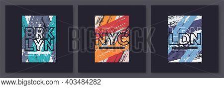 Set Of Abstract Geometric T-shirt Vector Designs, Graphic Prints. Brooklyn, New York City, London.