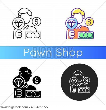 Pawnbroker Icon. Lending Money In Exchange For Personal Property. Pledge And Pawn. Offering Secured