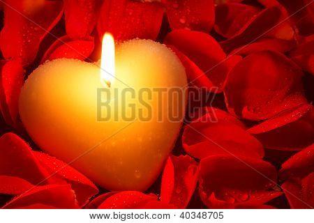 Uma vela de forma coração cercada por pétalas de rosas vermelhas, cobertas de gotículas de água, uma boa imagem para uma Val
