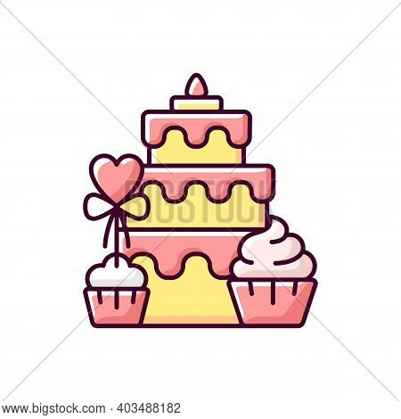 Candy Bars Rgb Color Icon. Buffet With Cupcakes And Muffins. Cake For Wedding Celebration. Dessert W