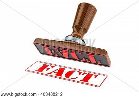 Fact Stamp. Wooden Stamper, Seal With Text Fact, 3d Rendering Isolated On White Background