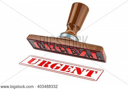 Urgent Stamp. Wooden Stamper, Seal With Text Urgent, 3d Rendering Isolated On White Background