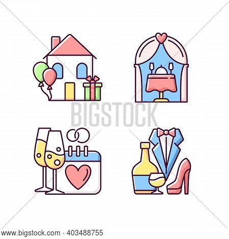 Family Celebration Rgb Color Icons Set. Housewarming Party. Engagement Date. Romantic Dinner. Weddin