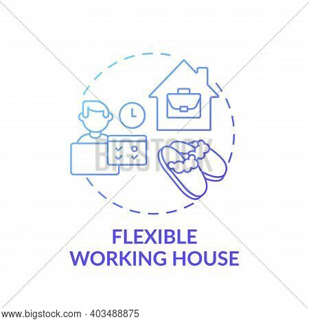 Flexible Working House Concept Icon. Working Remotely From Home Idea Thin Line Illustration. Remote