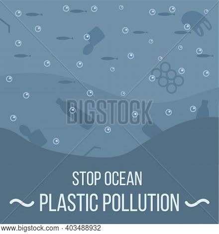 Ocean With Aquatic Animals And Plastic Garbage Floating In Water. Environmental Issue Or Ecology Pro
