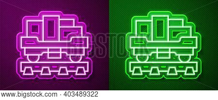 Glowing Neon Line Cargo Train Wagon Icon Isolated On Purple And Green Background. Full Freight Car.