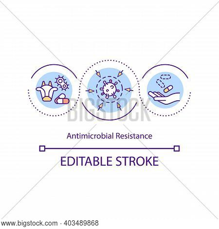 Antimicrobial Resistance Concept Icon. Antibiotic-resistant Germs Idea Thin Line Illustration. Incre