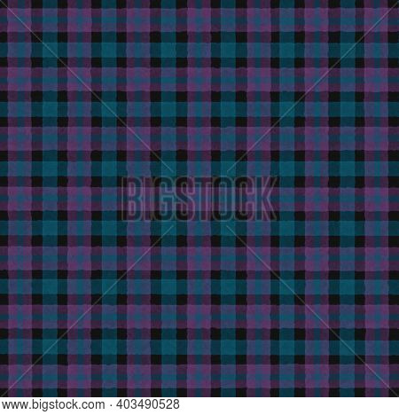 Pink Turquoise Black Blue Purple Vintage Checkered Background With Blur, Gradient And Grunge Texture