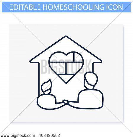 Homeschool Together Line Icon. Building Stronger Relationship. Online Education Concept. Distant Rem