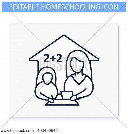 Mathematics Lesson Line Icon. Child Teaches Math With His Mother. Home Education Concept. Distance L