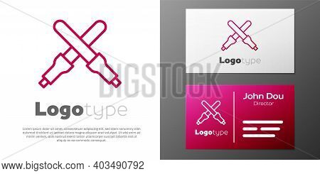 Logotype Line Marshalling Wands For The Aircraft Icon Isolated On White Background. Marshaller Commu