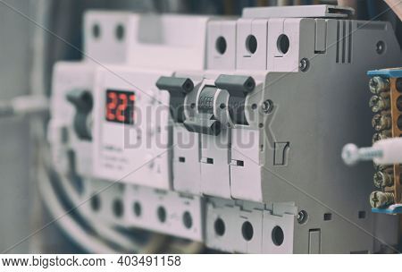 Closeup view of one of the many elements in the switchboard