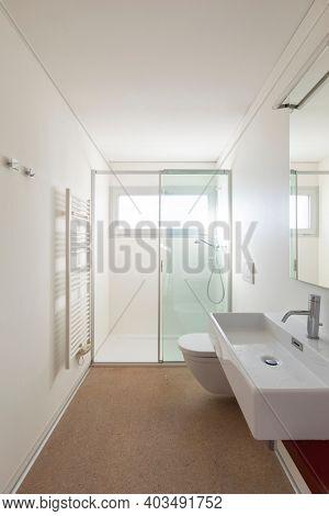 Interior of small bathroom in contemporary house
