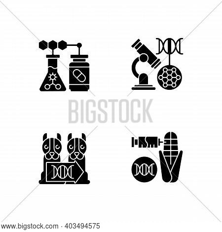 Genetic Modification Black Glyph Icons Set On White Space. Medical Biotechnology. Dna Microarray. An