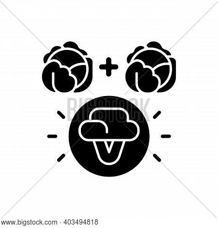 Selective Breeding Black Glyph Icon. Genetic Engineering. Food Modification. Agricultural Production