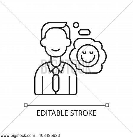 Positive Attitude Linear Icon. Optimistic Employee. Personal Achievement. Company Culture. Thin Line