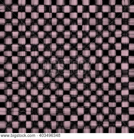 Pink Beige Black Vintage Checkered Background With Blur, Gradient And Grunge Texture. Classic Checke