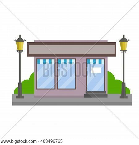Small Shop. Store With Red And White Roof. Food Trade And Coffee Shop. Town And City. Element Of Urb