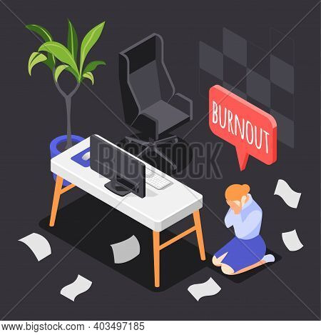 Burn-out Syndrome Isometric Background With Overwork And Overtime Symbols Vector Illustration
