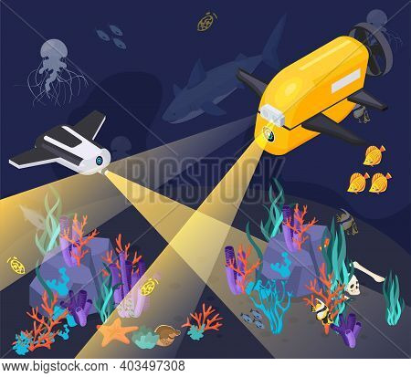 Isometric Underwater Vehicles Machines Equipment Composition With Two Machines Dive Into A Deep Sea