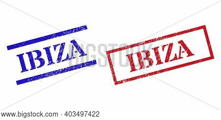 Grunge Ibiza Seal Stamps In Red And Blue Colors. Stamps Have Rubber Texture. Vector Rubber Imitation
