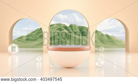 Abstract Minimal Scene With Podium Display. Pastel Podium With Mountains Veiw. Cosmetics Or Beauty P