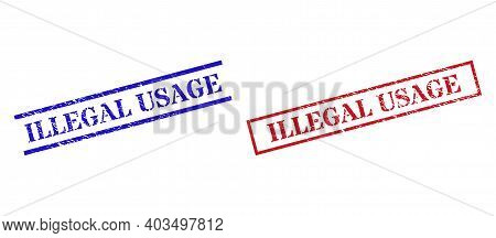 Grunge Illegal Usage Rubber Stamps In Red And Blue Colors. Stamps Have Rubber Surface. Vector Rubber