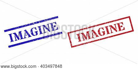 Grunge Imagine Seal Stamps In Red And Blue Colors. Stamps Have Rubber Style. Vector Rubber Imitation