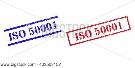 Grunge Iso 50001 Stamp Seals In Red And Blue Colors. Seals Have Draft Texture. Vector Rubber Imitati