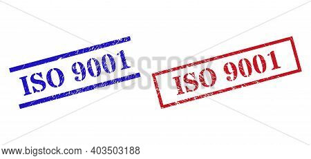 Grunge Iso 9001 Seal Stamps In Red And Blue Colors. Stamps Have Rubber Surface. Vector Rubber Imitat