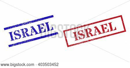 Grunge Israel Stamp Seals In Red And Blue Colors. Seals Have Rubber Texture. Vector Rubber Imitation