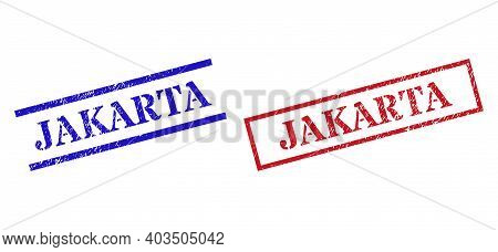 Grunge Jakarta Seal Stamps In Red And Blue Colors. Seals Have Rubber Texture. Vector Rubber Imitatio