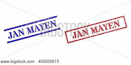 Grunge Jan Mayen Rubber Stamps In Red And Blue Colors. Stamps Have Draft Texture. Vector Rubber Imit