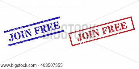 Grunge Join Free Stamp Watermarks In Red And Blue Colors. Stamps Have Draft Style. Vector Rubber Imi