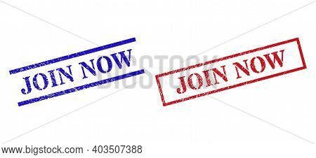 Grunge Join Now Rubber Stamps In Red And Blue Colors. Seals Have Rubber Style. Vector Rubber Imitati