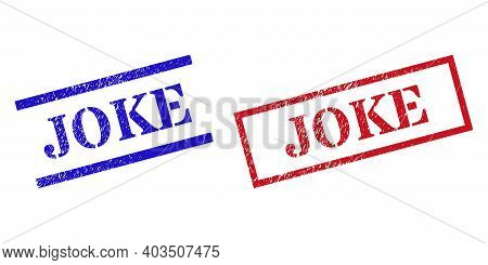 Grunge Joke Seal Stamps In Red And Blue Colors. Stamps Have Draft Style. Vector Rubber Imitations Wi
