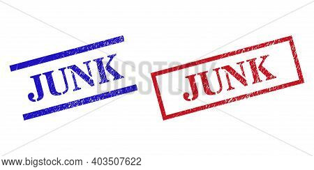 Grunge Junk Rubber Stamps In Red And Blue Colors. Stamps Have Rubber Surface. Vector Rubber Imitatio