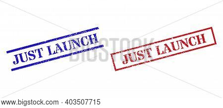 Grunge Just Launch Rubber Stamps In Red And Blue Colors. Seals Have Rubber Surface. Vector Rubber Im